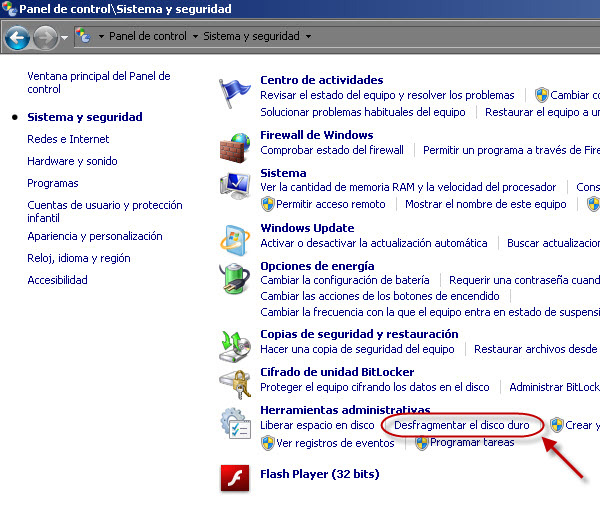 Windows 7 - Desfragmentador de disco