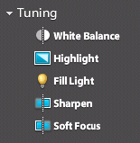 Controles Tuning de Photoshop Express