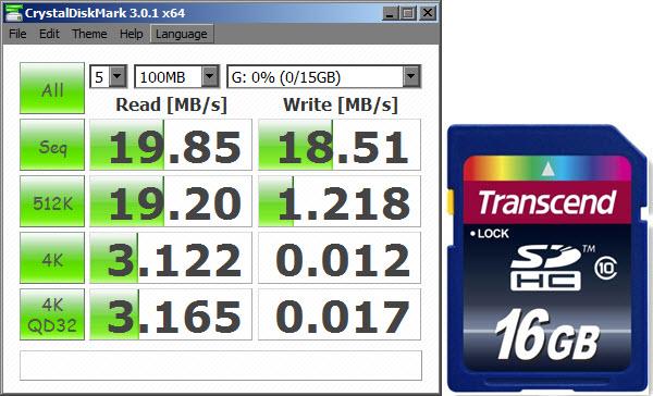 Test de Velocidad Transcend SDHC16GB