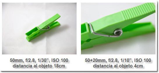 Comparación del rango de enfoque con y sin tubo de extensión
