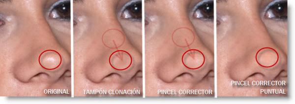 Comparación Tampón de Clonación, Pincel Corrector y Pincel Corrector Puntual