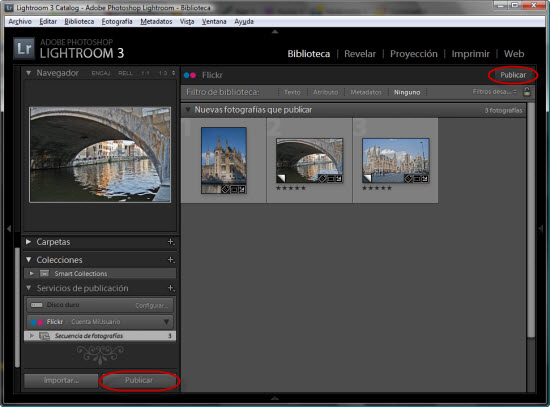 Publicando fotos en flickr desde Lightroom 3 - Paso 2