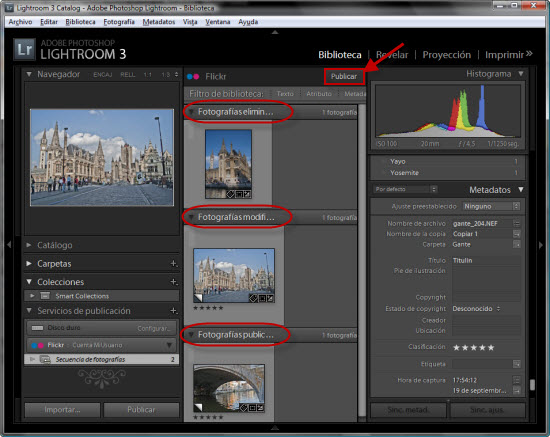 Publicar cambios y eliminaciones de fotografías a la cuenta de flickr