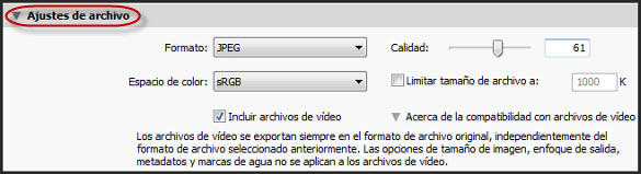Exportación - Ajustes de Archivo