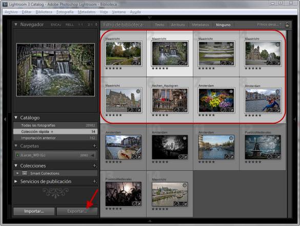 Seleccionando las fotografías para Exportar