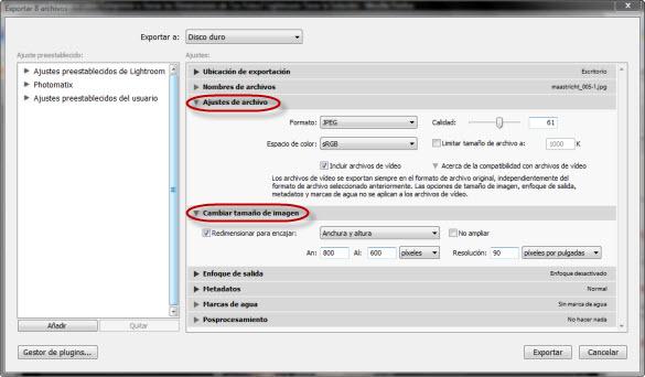 Ventana de Exportación - Secciones de Compresión y redimensionado