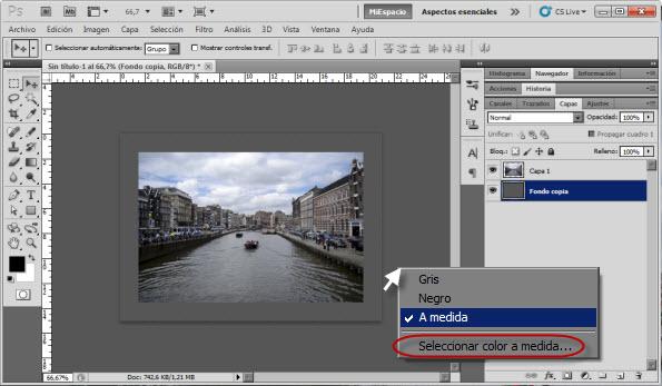 Selección del color tapiz de Photoshop