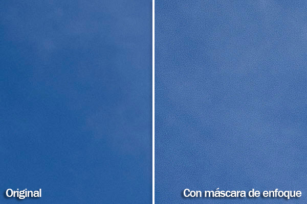 Antes y después de aplicar la máscara de capa en la zona del cielo