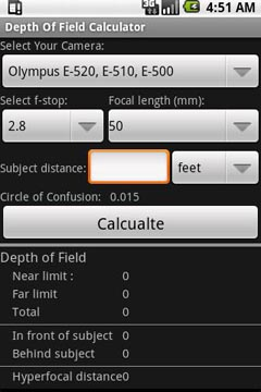 Depth Of Field Calculator - Screenshot