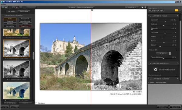 Modo HDR ByN en HDR Efex Pro