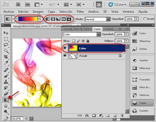 Dando color con la herramienta degradado