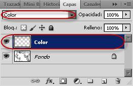 Ventana Capas - Capa color con modo de fusión 'Color'