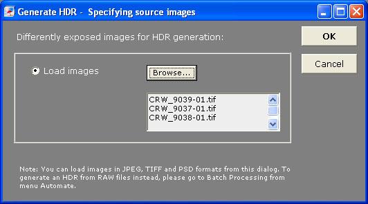 Photomatix - Seleccion de imagenes