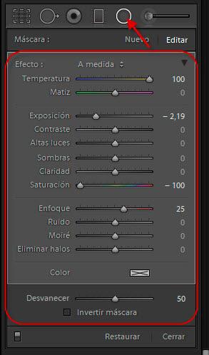 Opciones de la herramienta Filtro Radial