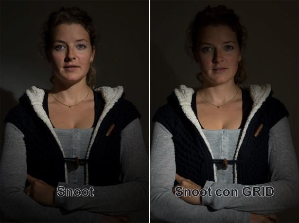 Ejemplo del efecto que causa un snoot y un snoot+grid