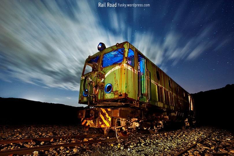 Fotografía Nocturna De Larga Exposición Photoinside Rail Road