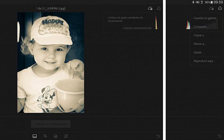 Lightroom mobile - Sincronización y exportación