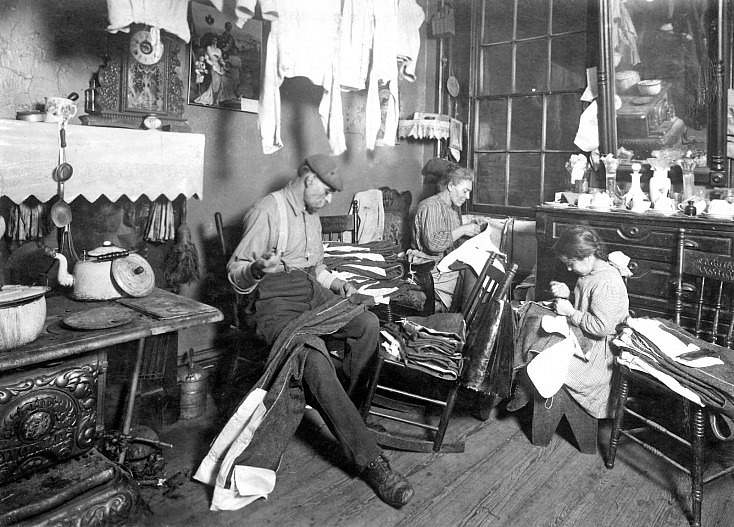 Lewis Hine - Jennie Rizzandi, 9 year old girl, helping mother and father finish garments in a dilapidated tenement