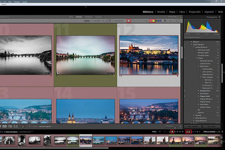 Vemos que he seleccionado las fotografías clasificadas con el color rojo y amarillo, y además he puesto que filtre por las que tengan una o más estrellas. La selección me aparece tanto en el filtro superior como en el inferior.