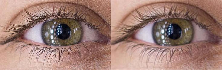 Ampliación de una foto con 20Mpix (izquierda)y otra con 6Mpix (derecha). La foto con más píxeles es capaz de ampliar hasta el ojo de la modelo manteniendo la definición, mientras que en la de la derecha se ven los píxeles.
