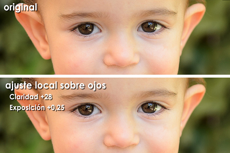 Claridad como ajuste local sobre ojos