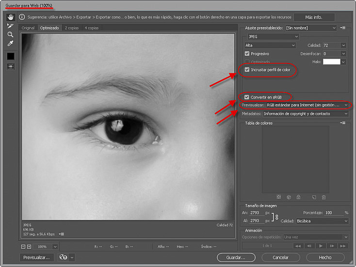 Perfil de color - Photoshop Guardar para web