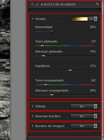 Silver Efex Pro 2 - Ajustes de acabado