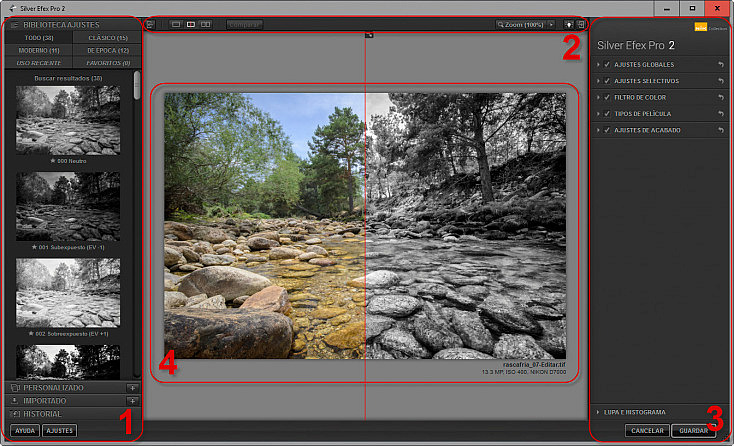 Silver Efex Pro 2 - Interfaz