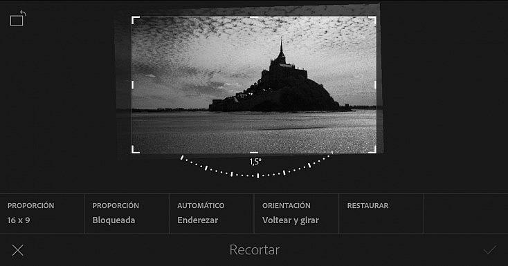 La herramienta Recortar también sirve para enderezar una fotografía torcida.