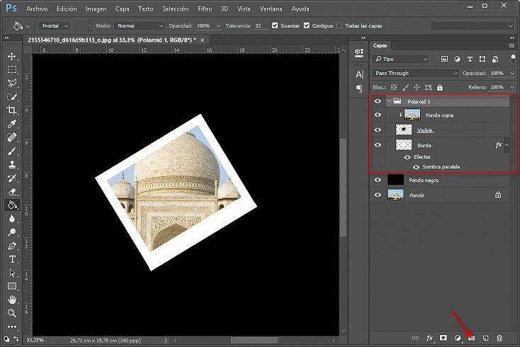 Collage polaroids - Paso 12