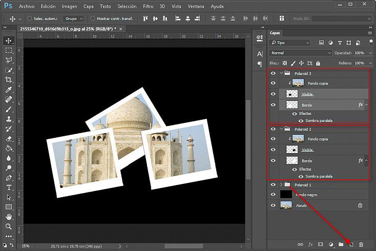 Collage polaroids - Paso 13