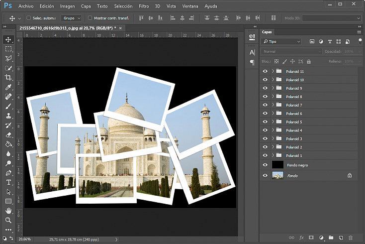 Collage polaroids - Paso 14