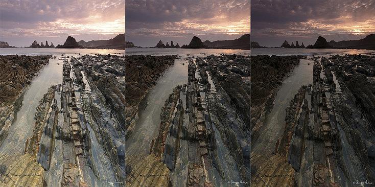 Se han utilizado tres fotografías con diferentes exposiciones. Se podría haber usado la foto del medio para conseguir la foto, puesto que el cielo tiene detalle, pero las rocas del fondo están demasiado oscuras, por lo que aparecería ruido al levantar las sombras.