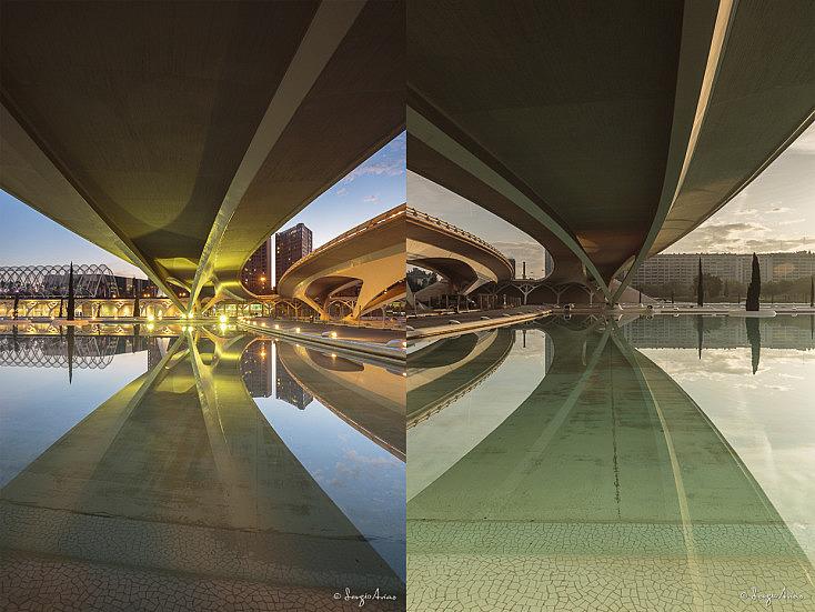 Dos sitios muy próximos a distintas horas del día, con diferente luz, crean fotografías diferentes. La hora azul, cuando se encienden las luces crean esos colores vibrantes y esa combinación entre frío y cálido.