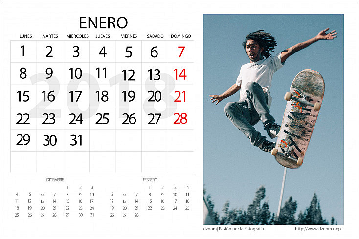 Calendario 2018 para Editar (Personalizable) de dzoom