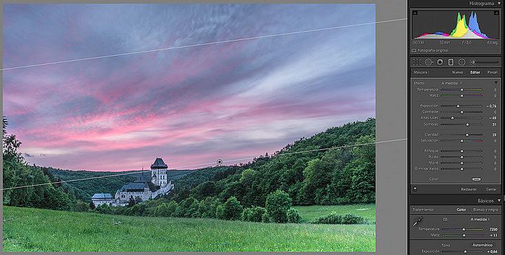 Aplicamos el filtro graduado y recuperamos el color tan magnífico del cielo.