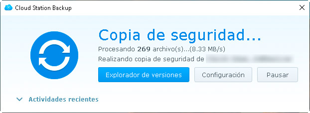 Cloud Station Backup - Progreso copia