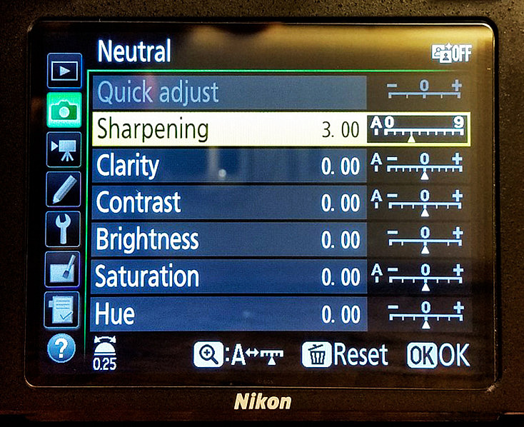 Nikon Picture Control - Quick Adjust
