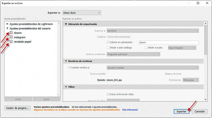 Exportación a múltiples formatos en un sólo paso
