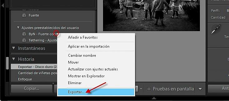 Exportación de ajustes pre3stablecidos