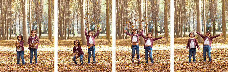 Niñas jugando con las hojas