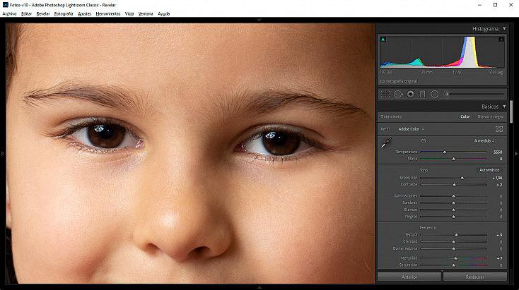 Zoom sobre el rostro del retrato