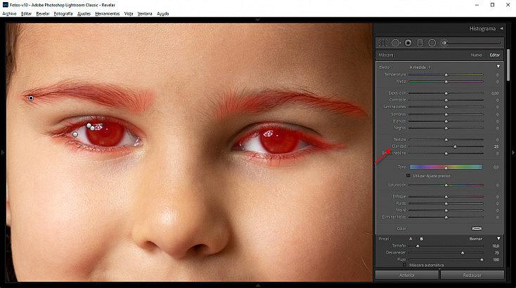 Mejora de cejas, pestañas, iris y pupilas