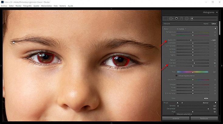 Último ajuste sobre la zona externa de los iris, para dar un mayor contraste
